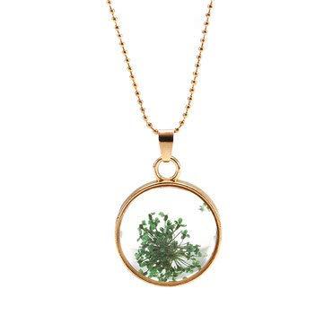 MASUNN Ketting Plant Specimen Circulaire Glas Fotolijsten Bud Zijde Gedroogde Bloem Ketting Decoraties, Groen, 1