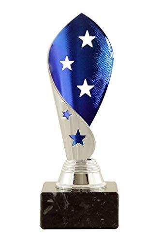 Mini Star Pokal Dallas inkl. hochwertigen Gravurschild mit Ihrem Wunschtext (Silber-blau, 20 cm)