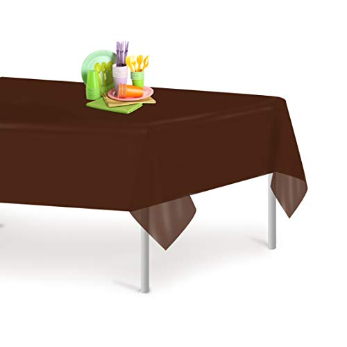 Brown 12 Pack Premium Disposable Plastic Tablecloth 54 Inch. x 108 Inch. Rectangle Table Cover By Dluxware