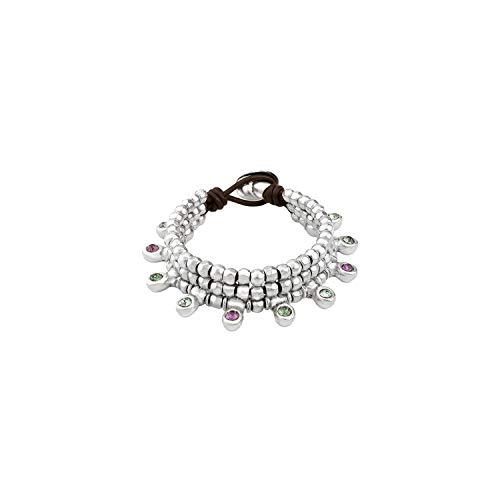 Original pulsera de Tres vueltas elaborada con piezas redondeadas de Las Que cuelgan cristales de Swarovski Elements de inspirados en El Mundo Natural.