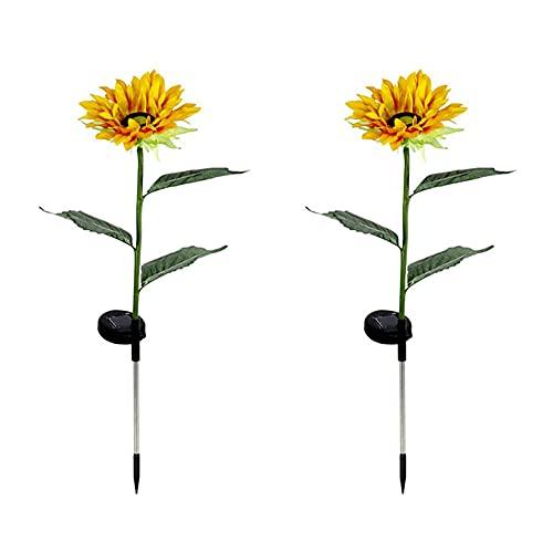 2 luces LED solares de girasoles, impermeables, artificiales, decorativas, para jardín, patios, yard