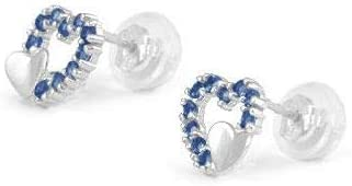 14K White Gold Simulated Birthstone Double Hearts Girls Stud Earrings