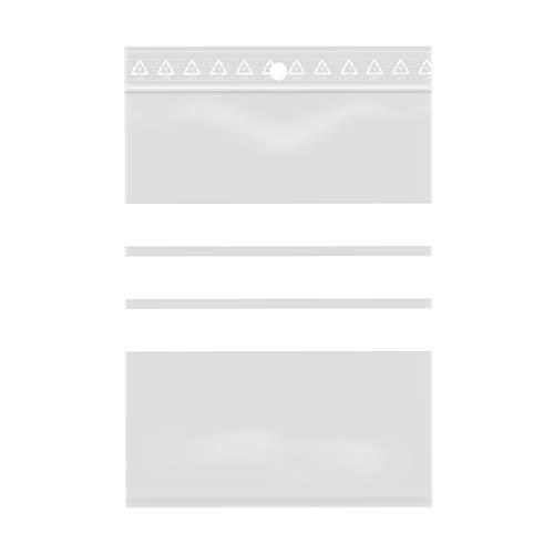 100 bolsas con cierre de cremallera transparente – Plástico apto para alimentos (8 x 12 cm, tiras blancas)