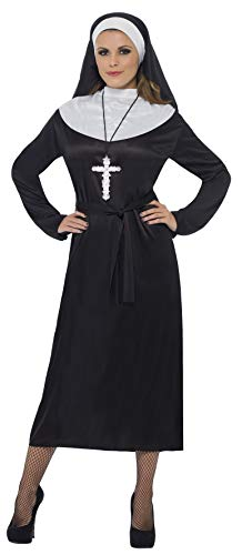 Smiffys Women's Nun Costume Dress with Belt and Headdress, Black, Large
