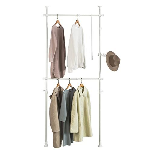SoBuy FRG109-W Teleskop Garderoben System mit 2 Kleiderstangen Kleideraufbewahrungssystem Regalsystem Kleiderständer
