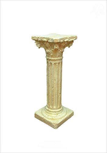 Antikes Wohndesign Griechische Blumensäule Blumenständer Säule Standsäule Creme Beige H: 75,5cm