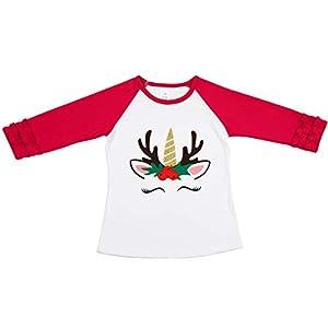 Girls Icing Lotus Ruffle Cotton T-Shirt Long-Sleeve Cuff Undershirt School Tee Christmas Raglan Casual Blouse