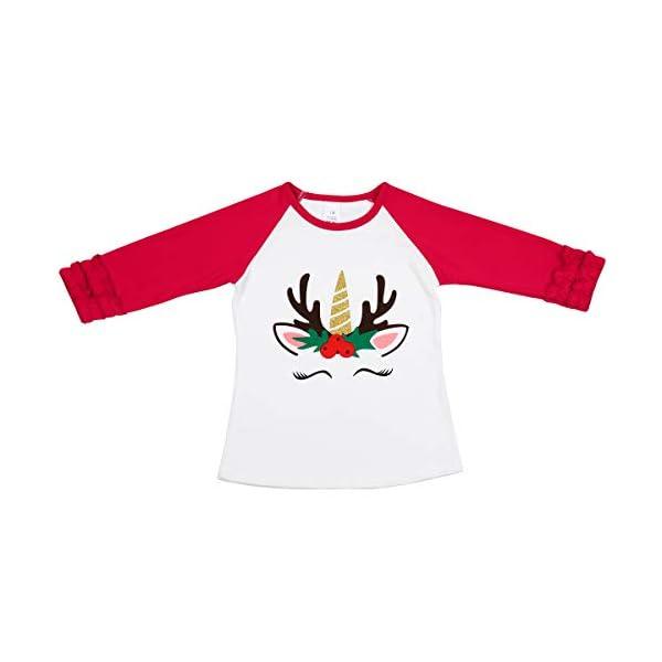 Girls Icing Lotus Ruffle Cotton T-Shirt Long-Sleeve Cuff Undershirt School Tee Christmas Raglan Casual Blouse 2