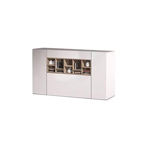 Générique Deco Buffet Bas Contemporain Blanc Brillant et décor Chene Canadien - L 150 cm