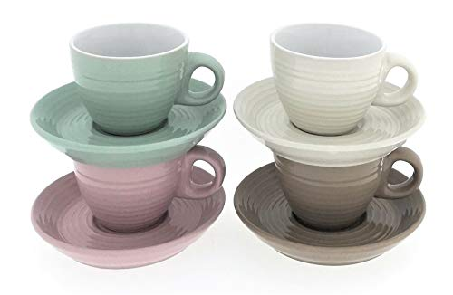 MC-Trend 4er Set Espressotassen aus Porzellan einfarbig in 4 edlen Farben Tasse Becher Espresso Kaffee Bistro Gastro Event Küche Kantine
