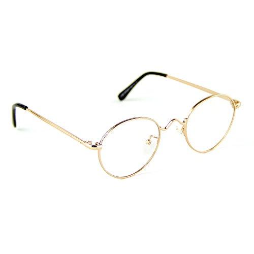 Cyxus Gafas de Clásico Moda para Hombres/Mujeres Lentes Transparentes Unisexo Vidrios Ordinarios Marco Ligeras y Cómodas (Marco de Metal Oro 8702X)