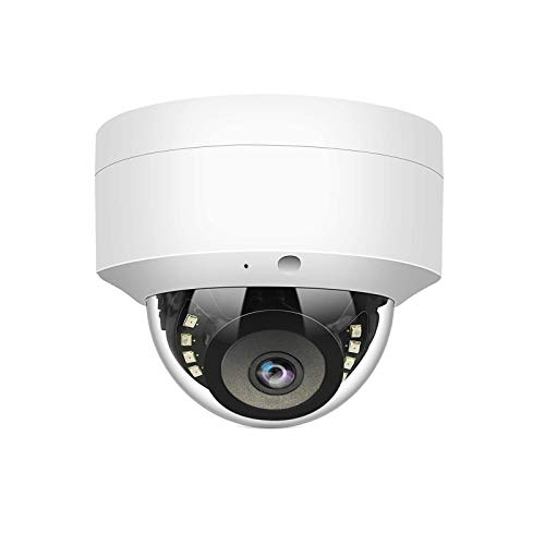 WiTi Cámara IP POE de 5 MP, cámara domo de vigilancia de seguridad con micrófono de audio, detección de movimiento de lente de gran angular de 2,8 mm, ONVIF metal sólido IP66