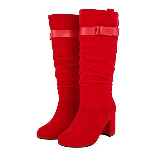 Bigtree Botas a Media Pierna para Mujer Moda Boda Noche Botas de Tacón Alto con Hebilla Rojo 42 EU