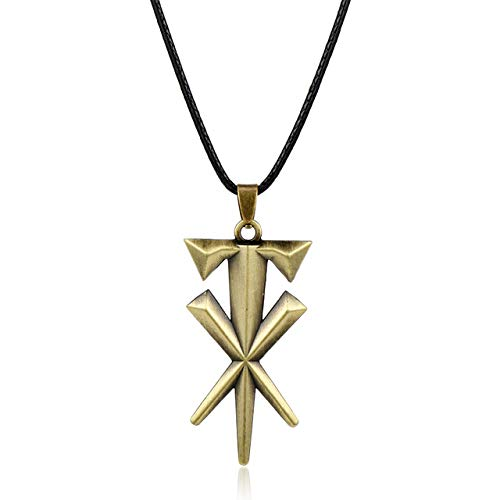 Davitu Fashion Jewelry Geometric Cross Undertaker Pendant Necklace Leather Cord Necklace Metal Cool Accessories Gift for Men - (Metal Color: Bronze)