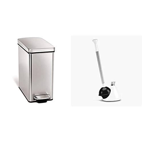 simplehuman 10 Liter / 2.6 Gallon Stainless Steel Bathroom Slim Profile Trash Can, Brushed Stainless Steel & Toilet Plunger and Caddy, Stainless Steel, White