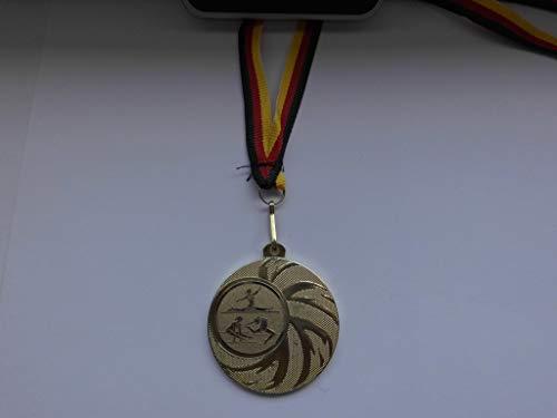 10 x Medaillen - aus Stahl 45mm - mit Einem Emblem, Turnen - Bodenturnen - inkl. Medaillen-Band - Farbe: Gold - Kinder - Damen - mit Emblem 25mm - (e108) -