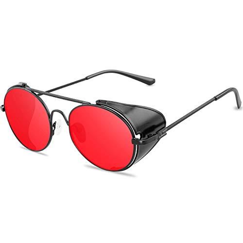 HHAA Gafas De Sol Estilo Steampunk Retro para Hombres Y Mujeres, Diseñador De Marca, Montura Metálica Redonda, Lentes Punk, Gafas De Sol, Gafas De Sol