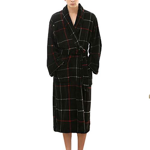 Heren badjas winter ochtendjas lange mannen hoofdkleding mantel warm pyjama wikkeljurk met zakken
