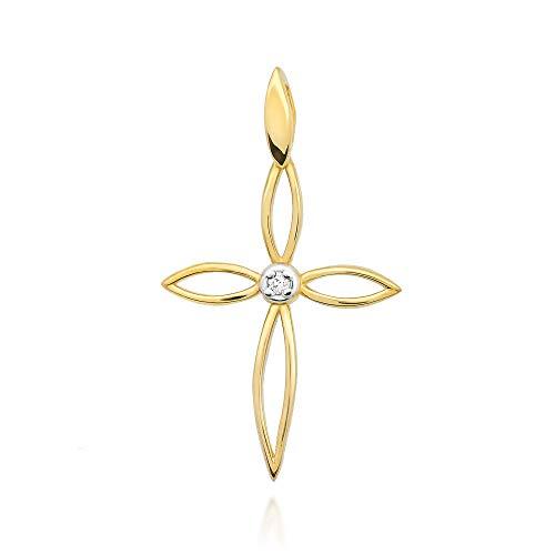 Colgante de mujer Zlocisto en forma de cruz Muestra de oro amarillo u oro blanco 585, con diamantes talla brillante 0,02 ct H/Si Joyas de oro atemporales y elegantes en una caja de alta calidad