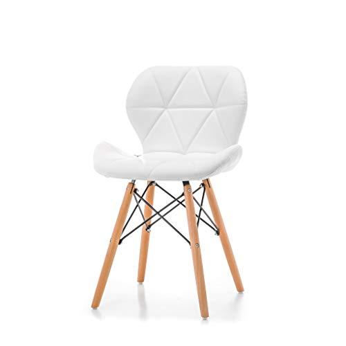 World of Chairs Schalenstuhl im Skandi-Stil, H 74 X B 47 x T 42 cm, Polsterbezüge aus Kunstleder, Beine aus Buchenholz verstärkt mit pulverbeschichtetem Metallgestell