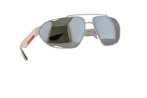 Prada SPS 56US Zonnebril Wit Rubber w/Green Mirror Zilver Lens 66mm TWK5K2 PS 56US PS56US SPS56U
