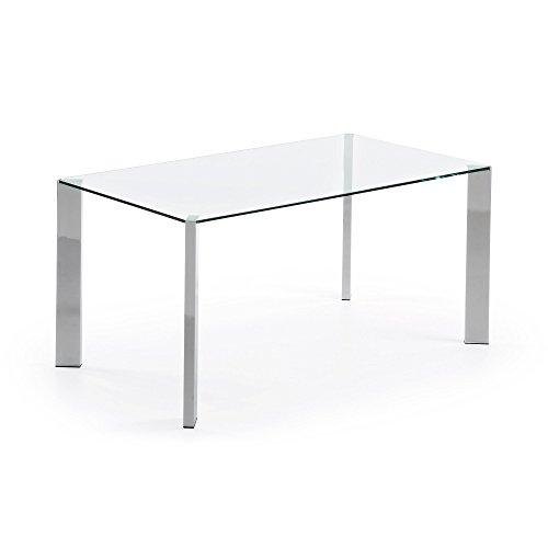 Kave Home - Tavolo rettangolare Spot in vetro con gambe in acciaio