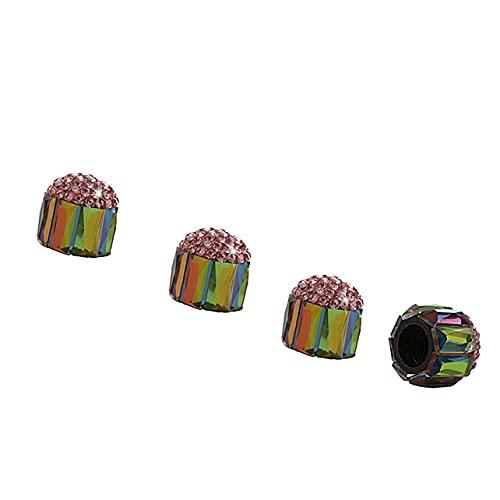 Tapones de válvula de Vidrio Coloreado con Incrustaciones de Diamantes Tapones de núcleo de válvula universales llenos de Diamantes Tapones de válvulas de neumáticos de automóviles - Diamante Rosa
