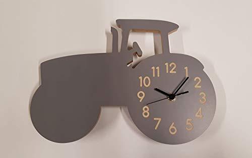Yourlivingart Wanduhr Traktor-Grau, Kinderuhr, Uhr für Kinderzimmer