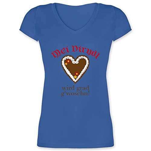 Oktoberfest & Wiesn Damen - Dirndl Wird g'woschn - Shirt statt Dirndl - L - Blau - t Shirt Dirndl in der wäsche - XO1525 - Damen T-Shirt mit V-Ausschnitt