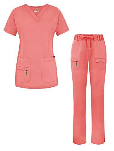 Adar Uniforme médico de Mujer Top Cuello en V Pantalones de Bolsillos múltiples - 4400 - Rapture Rose - S