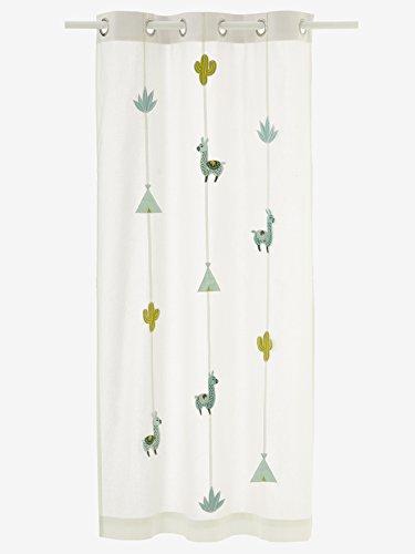 Vertbaudet Vorhang Kaktus für Kinderzimmer wollweiß 105X180