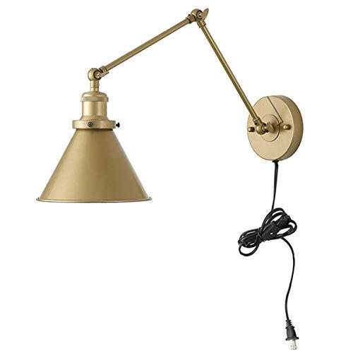 VOMI Retro Apliques de Pared Con Interruptor y Enchufe Vintage Industrial Lámpara de Pared E27 Ajustable Brazo Largo Metal Luces Decorativas para Sala Dormitorio Restaurante(No Incluye Bombilla)