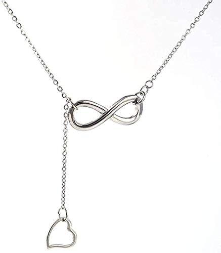 Collar Collar elegante y simple Collar de acero de titanio Colgante de acero de titanio con cadena en Y en forma de corazón de 8 caracteres Adecuado para cualquier ropa para mujeres Hombres Collar de