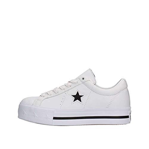 Converse Lifestyle One Star Platform Ox, Zapatillas Niña, Blanco (White/Black/White 102), 35 EU