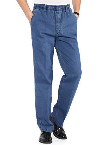 Ylingjun Mens Jeans Elastic Waist Relaxed Fit Straight Leg Jeans Casual Pants (34, Light Blue)