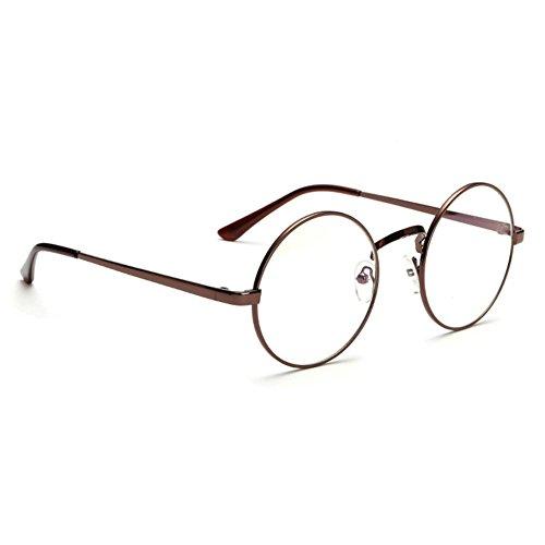 HENGSONG Retro Runde Brille mit Fensterglas Damen Herren Brillenfassung (Braun)