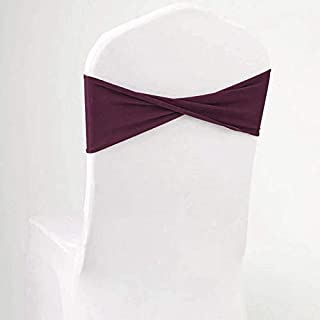mds Pack of 25 Spandex Chair Sashes Bow sash Elastic Chair Bands Ties Without Buckle for Wedding and Events Decoration Lycra Slider Sashes Bow - Eggplant