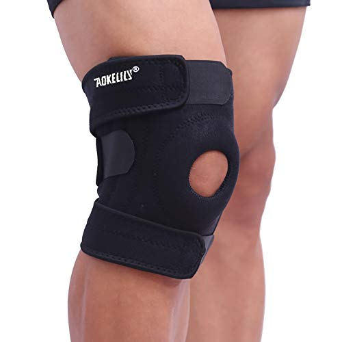 Aokelily Adjustable Knee Braces for Knee Pain Relief with Patella Gel Pads & Dual Side Stabilizers,Knee Support for Knee Joint Recovery or Injury Prevention for Man and Women (1 Pair) (1 Pair)