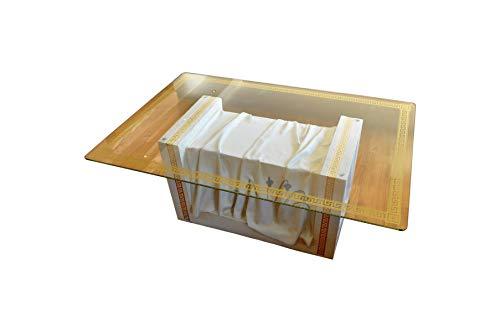 Rechteckiger Glastisch Wohnzimmertisch Tisch Couchtisch Griechischer Tisch Versa Serie Weiß Marmor Gold Mäandermuster