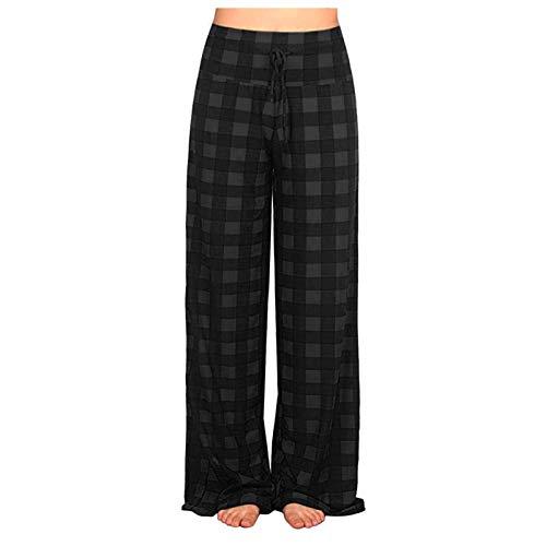 Pantalones largos para mujer, cómodos, pantalones de pijama anchos, pantalones de chándal para mujer, color negro, lisos, elásticos, huecos, con cintura alta y pantalones estrechos. Negro S