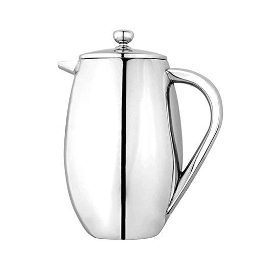 Koffietheepot, roestvrijstalen dubbellaagse koffiepot Franse pers, dubbelwandige roestvrijstalen spiegel, geen aanslag, roestvrij, vaatwasmachinebestendig