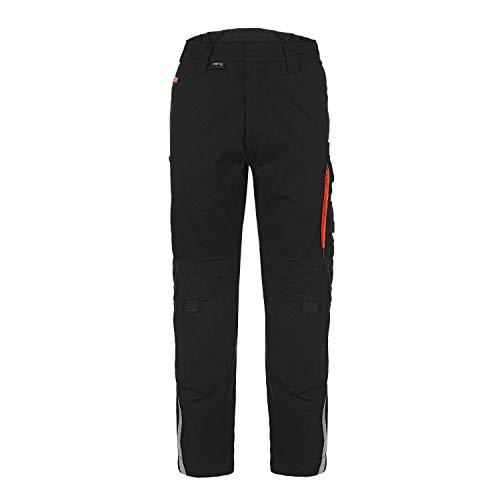 TMG® Elegance Lange Arbeitshose für Herren, Bundhose/Cargohose mit Kniepolstertaschen, Schwarz 48