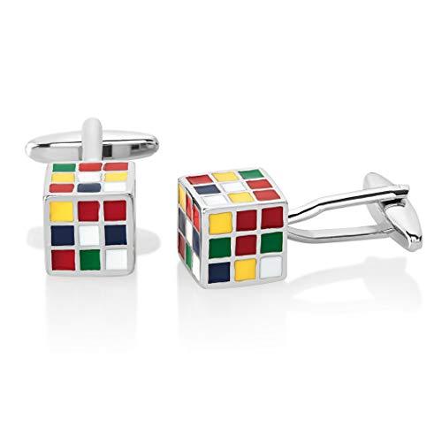 Ducomi Extravagant – Gemelos de hombre para camisa – Elegantes y originales accesorios para boda, novio y ocasiones importantes, muchos modelos para una idea de regalo perfecta Rubik bolsa de organza