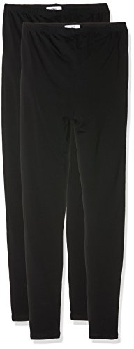 MAMALICIOUS Damen MLLEA ORGANIC LONG LEGGING 2PACK Umstandsleggings, Schwarz (Black Pack:Pack W Black), 38 (Herstellergröße: M) (2er Pack)