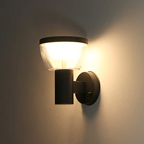 HLFVLITE Aplique de pared exterior, lámpara de pared LED para exterior/interior de acero inoxidable IP44 Aplique de pared exterior resistente a la intemperie, 3000K blanco cálido, 550LM, negro mate
