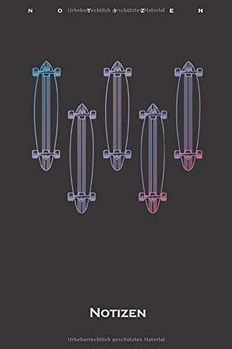 Longboards bunt Skateboard Notizbuch: Punkteraster Notizbuch für Freunde des gemütlichen Skatens
