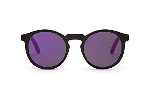 TAKE A SHOT Holz-Sonnenbrille Damen Schwarz Violett verspiegelt Schmal Runde Gläser, UV400 - Schwarze Sonnenbrille Holz NEPOMUK