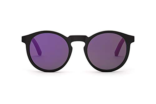 TAKE A SHOT – Schmale runde Holz-Sonnenbrille Damen, Holz-Bügel und Kunststoff-Rahmen, UV400 Schutz, rückentspiegelte Gläser - Nepomuk