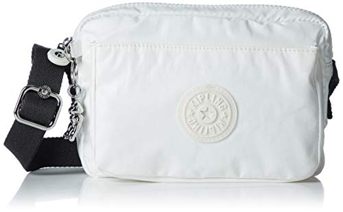Kipling Abanu, Bolsos con Bandolera para Mujer, Blanco (White Metallic), 20x13.5x7.5 cm