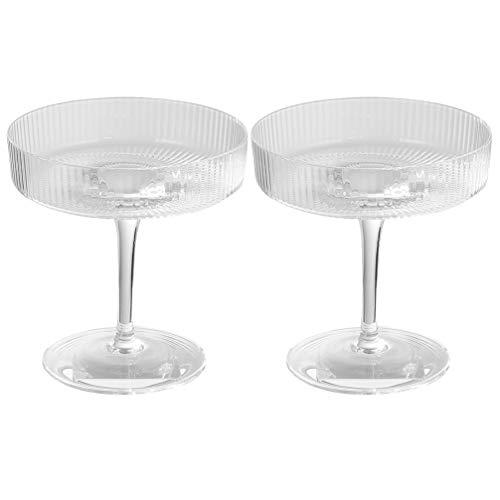 Hemoton 2 Stücke Eisbecher Dessertbecher Eisgläser Cocktailgläser Sektschalen Eisschale Glasschalen Glas Becher Kelch Cocktail Schale Dessert Gläser für Eiscreme Smoothie Pudding